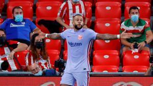 Memphis celebra su gol ante el Athletic