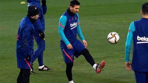 Messi, durante la sesión de hoy