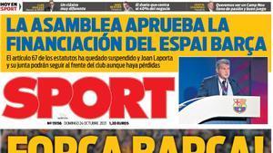 Força Barça, la portada del 24 de octubre