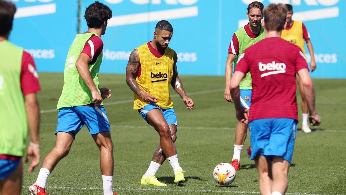 El entrenamiento del Barça sin Umtiti