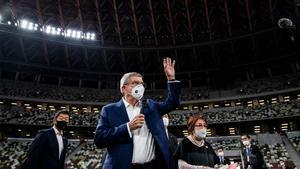 Thomas Bach, durante una visita al Estadio Olímpico de Tokio
