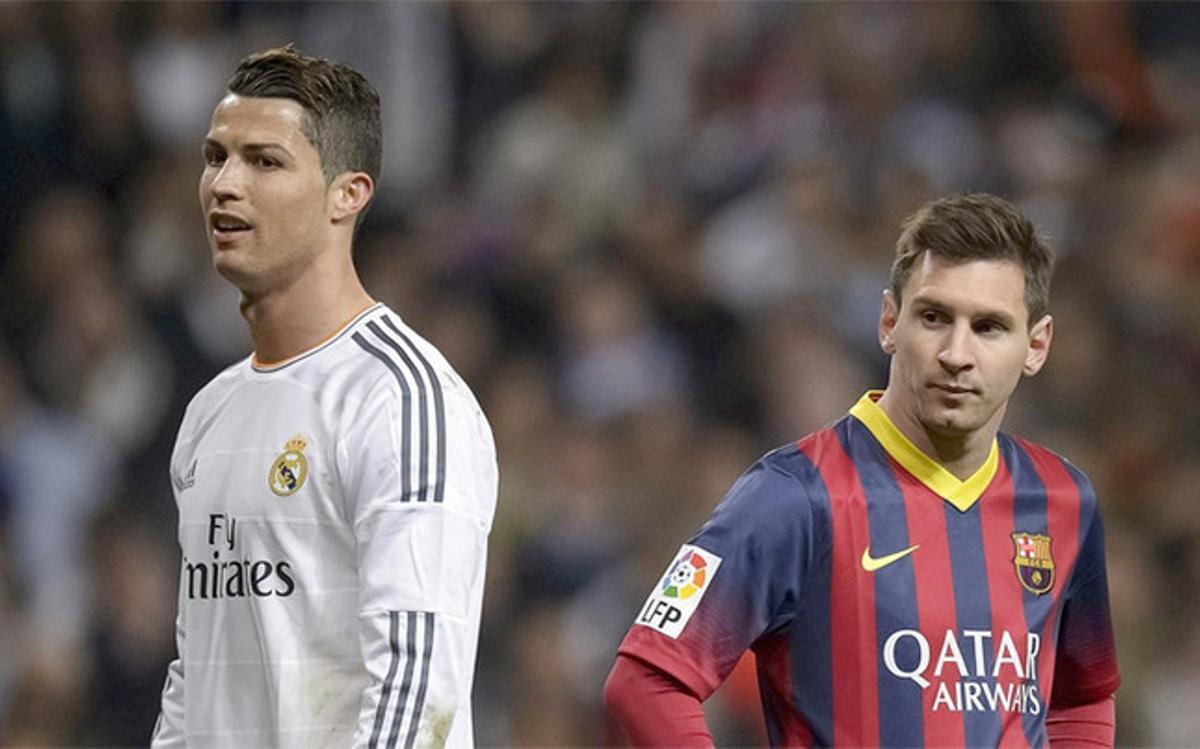 Cristiano Ronaldo y Leo Messi durante un clásico de la Liga 2013-14