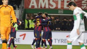 El Barça celebró seis goles en su última visita a Elche