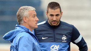 Benzema y Deschamps, en 2013
