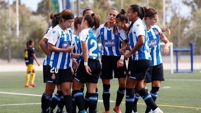 Las jugadoras del Espanyol celebran un gol esta temporada.