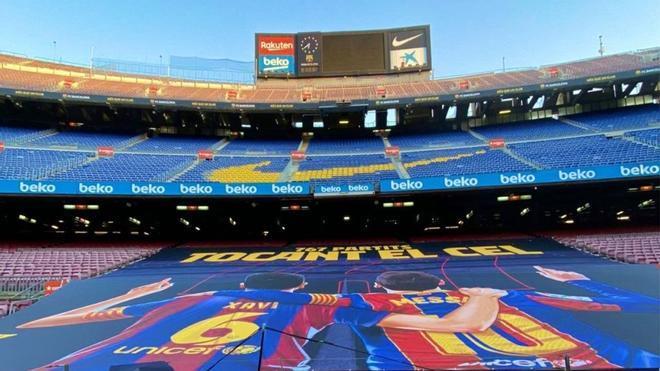 La pancarta que lucirá el Camp Nou con el nuevo récord de Leo Messi