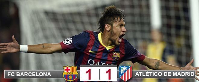 Neymar da Silva celebra su gol del empate contra el Atlético en la ida de los cuartos de final de la Champions