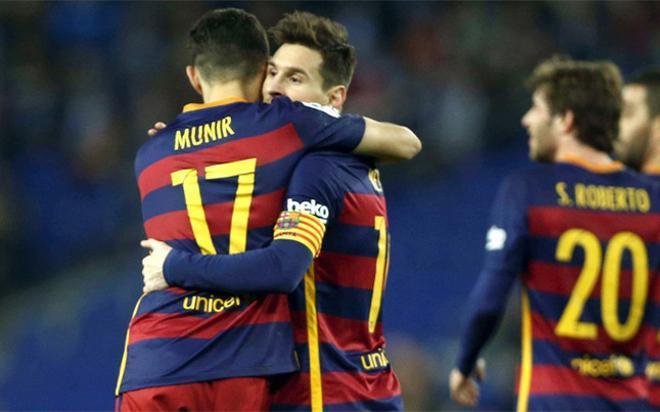 Munir y Messi, los protagonistas del derbi. Goleador y asistente