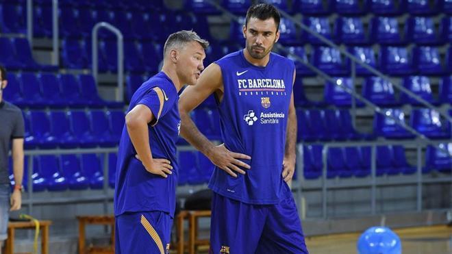 Jasikevicius y Oriola, en un entrenamiento en el Palau