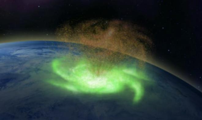Fuerte huracán espacial sobre el Polo Norte