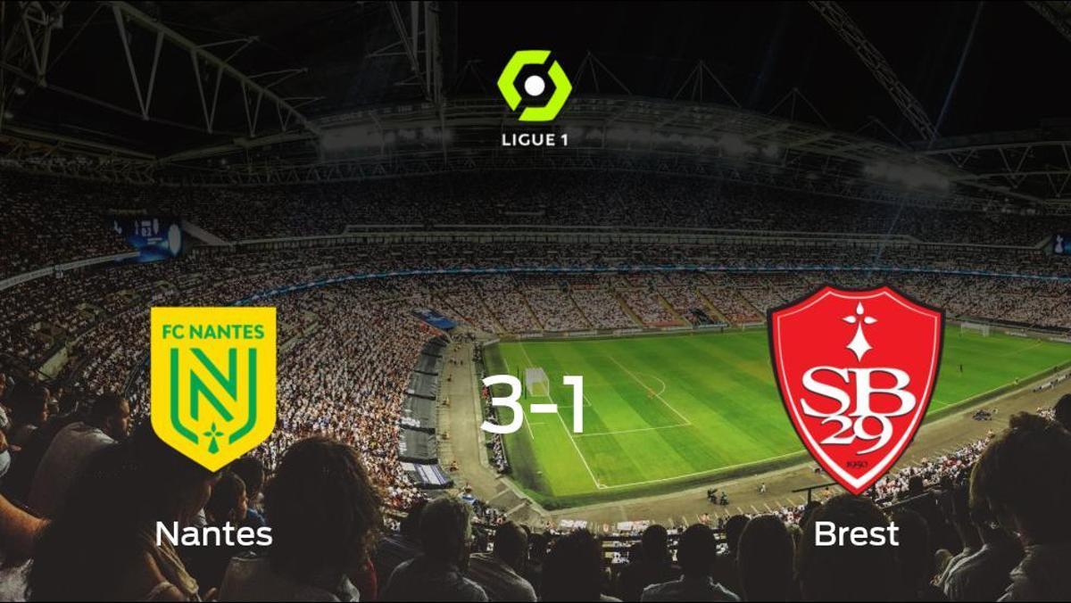 El FC Nantes gana 3-1 al Brest y se lleva los tres puntos