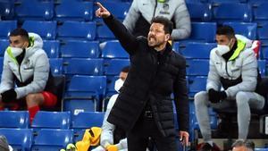Simeone, durante el Chelsea - Atlético