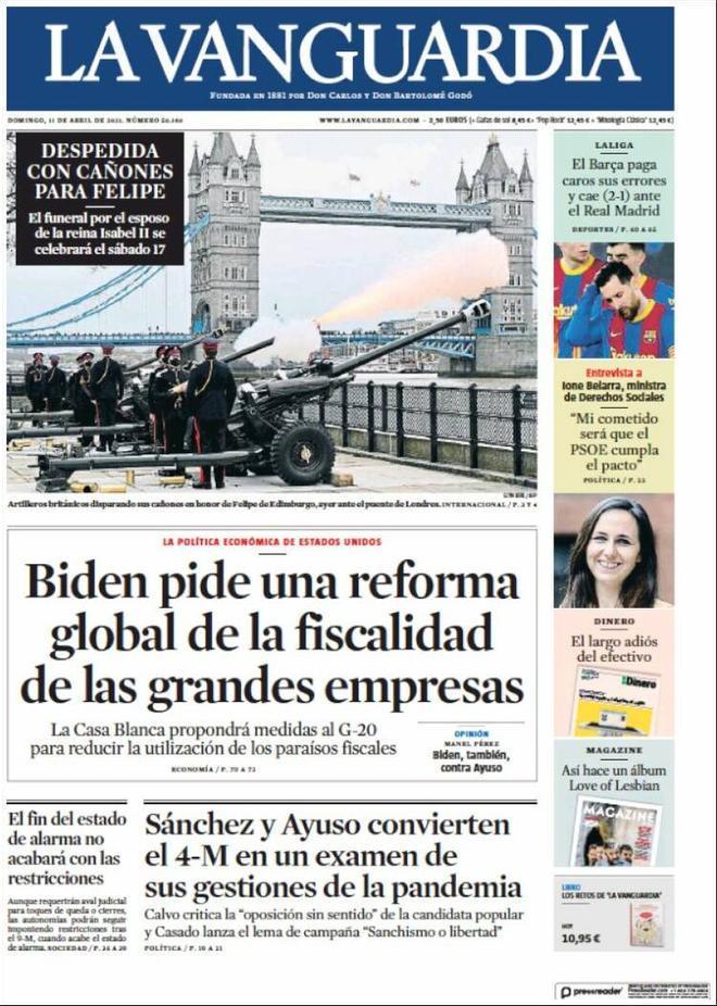 Portada La Vanguardia 11 de abril