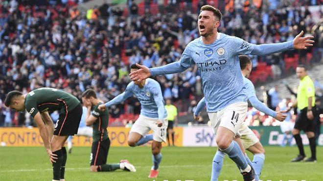 Aymeric Laporte, celebrando un gol con el City