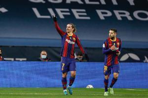 Griezmann y Alba, tras la consecución del primer gol