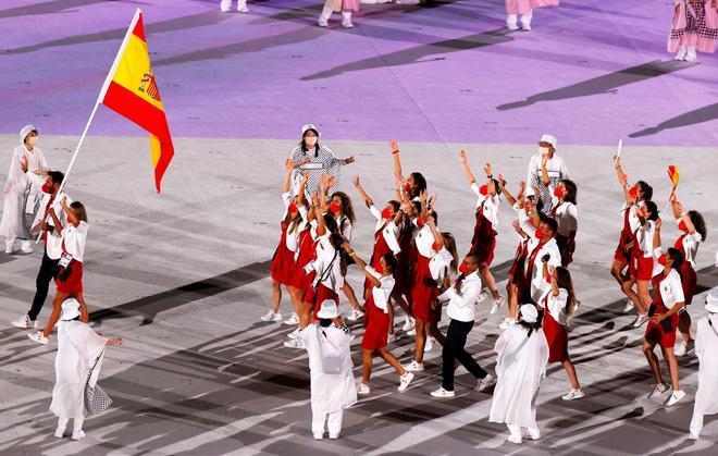 La delegación española en la apertura de los Juegos Olímpicos de Tokio 2020