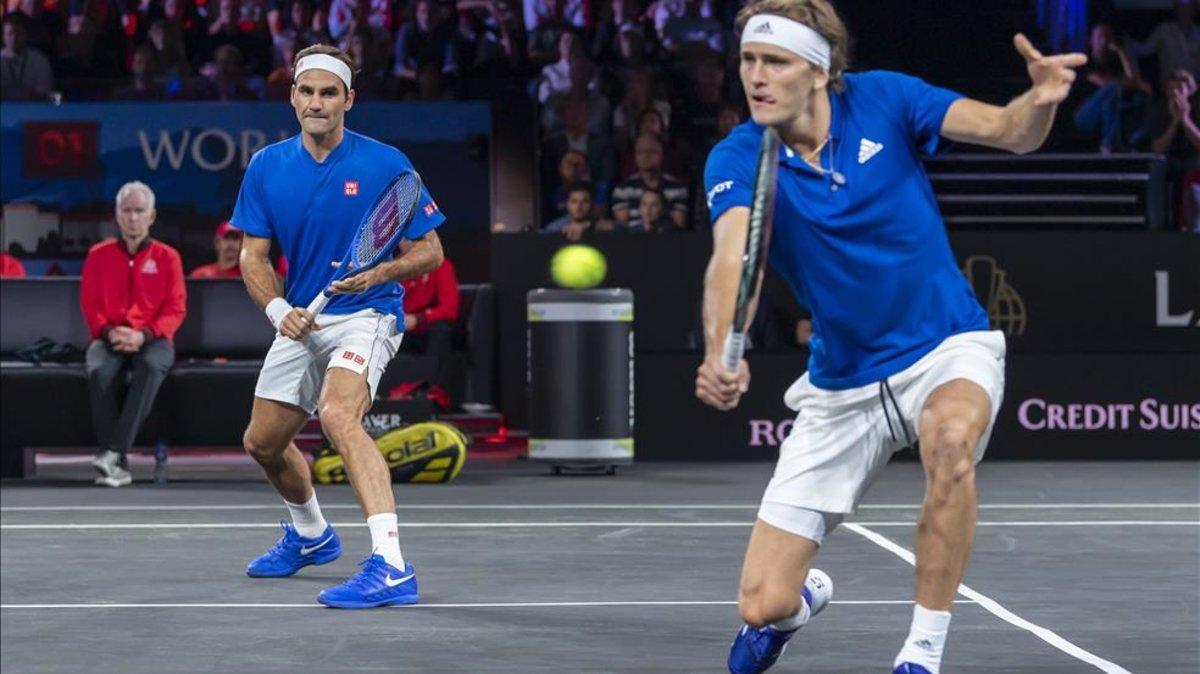 Federer y Zverev, durante la Laver Cup