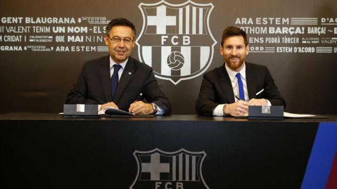 Leo Messi firmó su renovación con el Barcelona