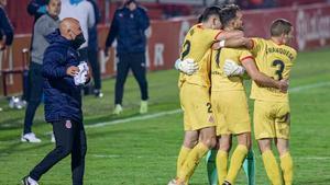 El Girona celebra uno de los dos goles de Stuani al Mirandés