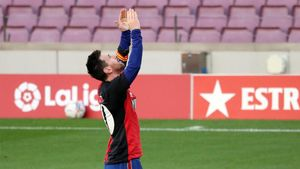 Messi, en la celebración con la camiseta de Newells