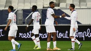 Jugadores del PSG, celebrando un gol
