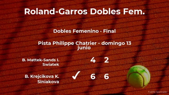 Las tenistas Krejcikova y Siniakova vencen en la final de Roland-Garros