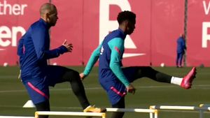 Sesión de recuperación en la Ciudad Deportiva Joan Gamper
