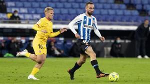 Sáiz y Darder, en el partido de la primera vuelta en el RCDE Stadium