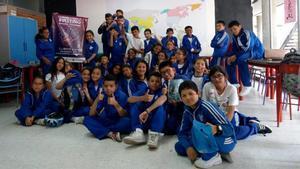 Una de las clases que participó en los primeros talleres contra el bullying en Bogotá en 2019