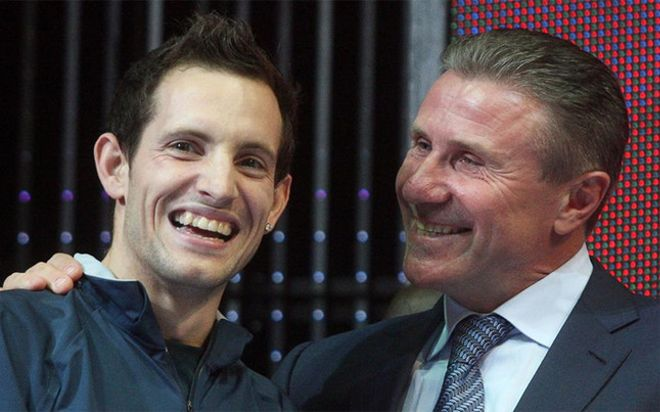 Lavillenie, felicitado por Bubka