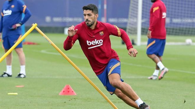 Luis Suárez, en uno de los últimos entrenamientos del FC Barcelona