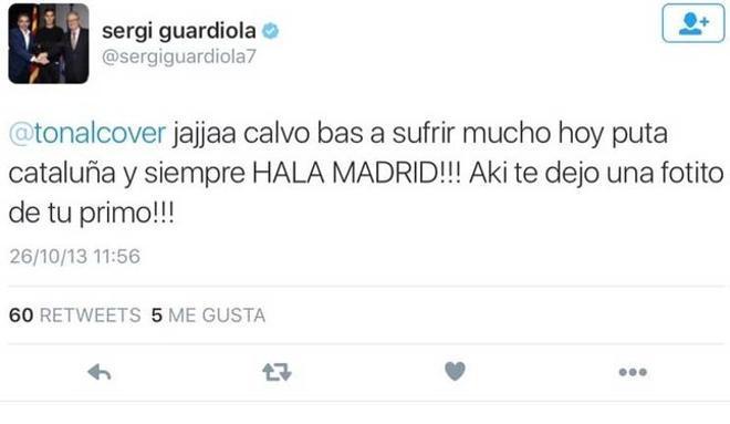 Uno de los tuits polémicos de Sergi Guardiola