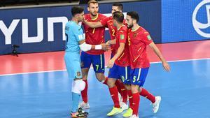 La Selección española celebra una acción durante el europeo