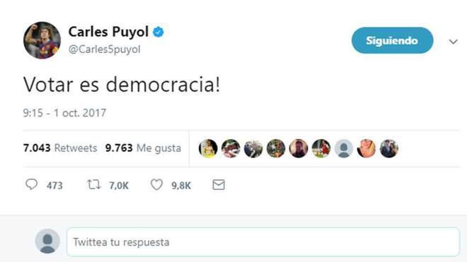 Este es el tuit de Carles Puyol