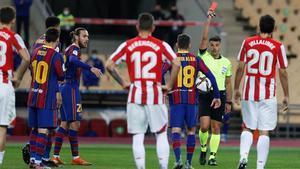 Leo Messi fue expulsado ante el Athletic