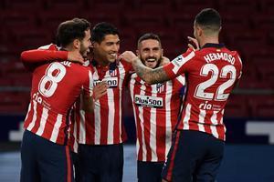 Jugadores del Atlético en el Wanda Metropolitano