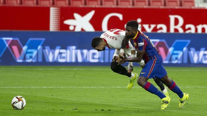 El nefasto partido de Umtiti ante el Sevilla