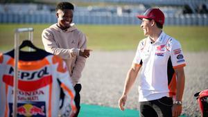Ansu y Márquez pasan un día juntos en el Circuit de Catalunya
