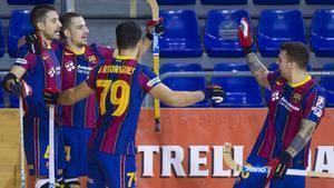 Los jugadores del Barça celebran un gol en la OK Liga