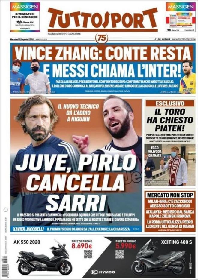 La portada del diario Tuttosport del 26 de agosto