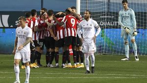 La piña del Athletic después de uno de los goles al Real Madrid