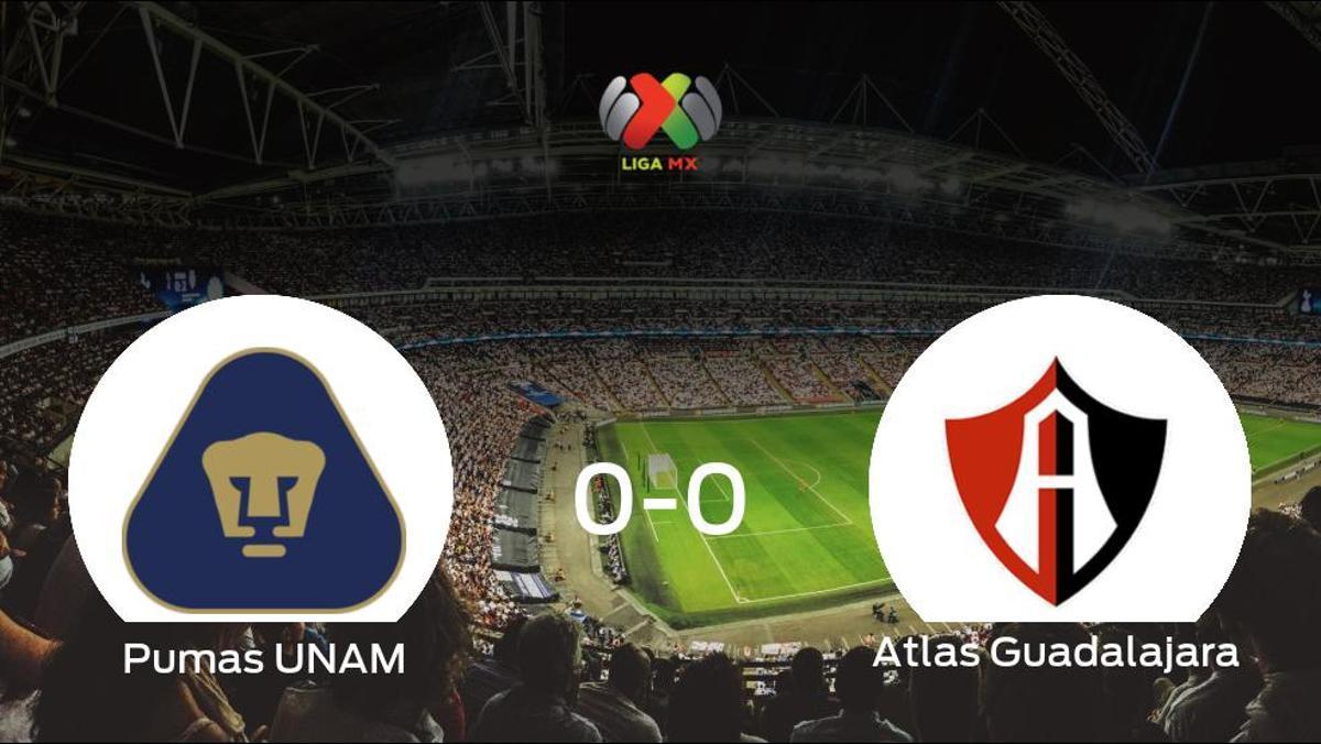 El Pumas UNAM y el Atlas Guadalajara empatan sin goles en el Estadio Olímpico Universitario (0-0)