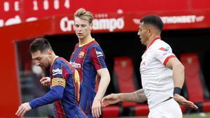 Leo Messi en el partido de LaLiga entre el Sevilla y el FC Barcelona disputado en el Sanchez Pizjuan.