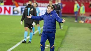 Ronald Koeman, durante el partido ante el Sevilla