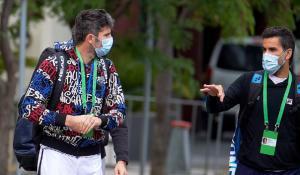 El italiano Bolinelli y el argentino González, antes de su sesión de entrenamiento.