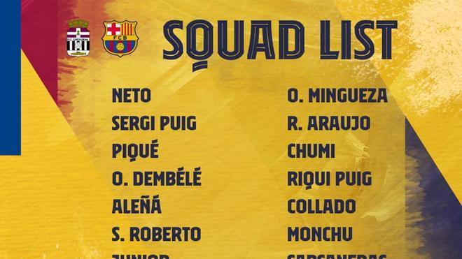 El Barcelona ha dado la lista de convocados