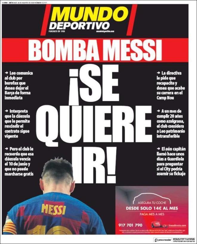 La portada de Mundo Deportivo del 26 de agosto