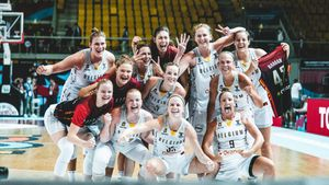 Las jugadoras de Bélgica celebrando en el Eurobasket