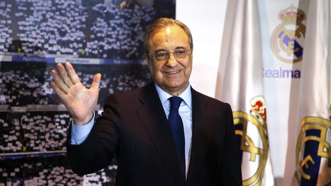 Florentino Pérez en el palco de honor del Santiago Bernabéu