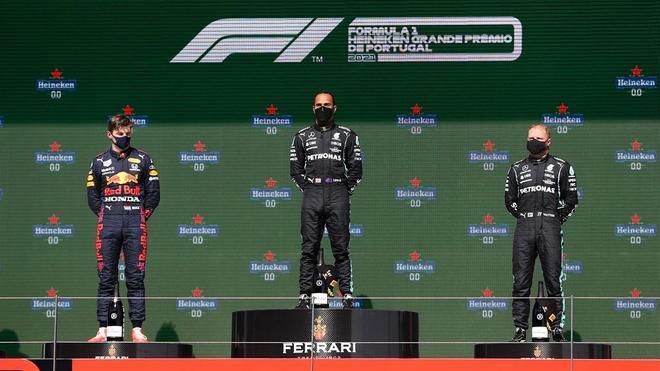 Hamilton, Verstappen y Bottas, en el podio del GP de Portugal